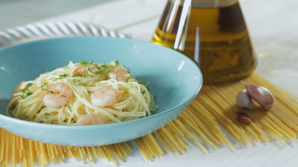 Spaghetti alle mazzancolle aglio, olio e peperoncino