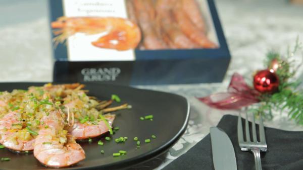 Argentinian red shrimps oven-baked