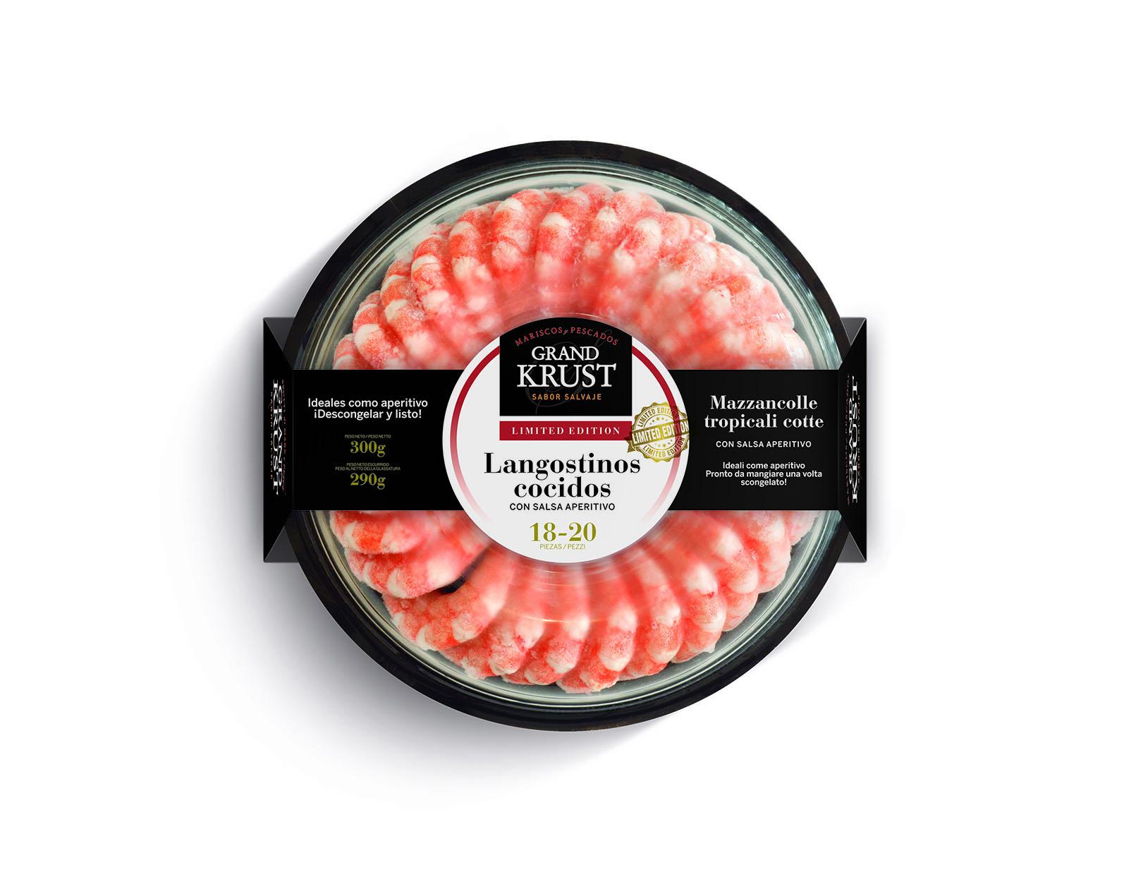 Corona de langostinos cocidos con salsa aperitivo 300 g - Aperitivos de mariscos ...