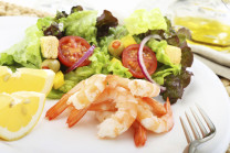 boiled shrimps with salad
