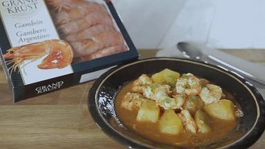 Cazuela de patatas con gambones