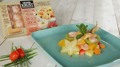 Tropical fruit salad with shrimp and cocktail sauce