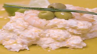 Red shrimp and hake salad