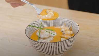 Prawn cream with monkfish