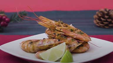 Argentine Red Shrimp baked with soy and ginger