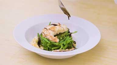 Warm green bean salad with argentine red shrimp